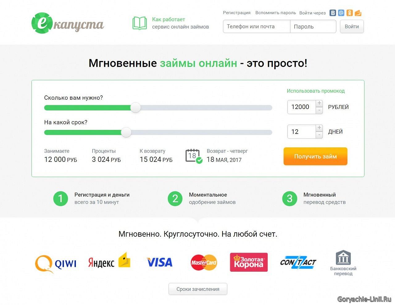 Капуста сайт займов отзывы клиентов